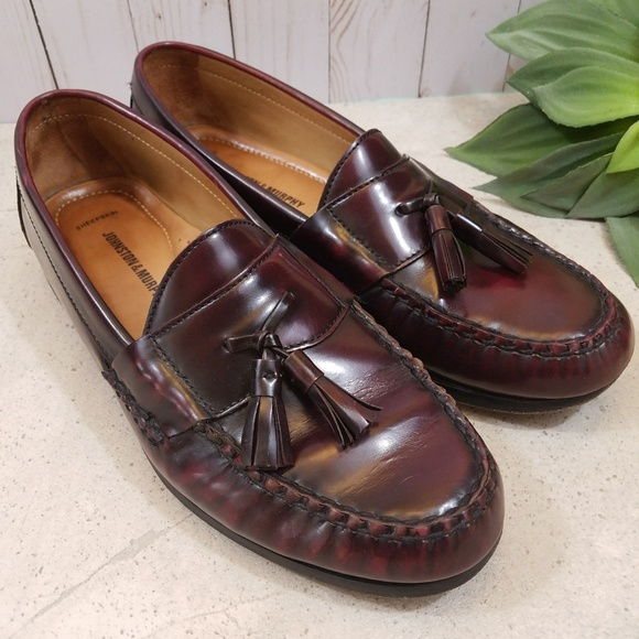 Johnston Murphy Black Brown Tassel Kiltie Moc Toe Boat Loafer Mens sz 8.5M
